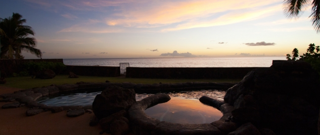 Makaha rental property view of ocean and pool at sunset
